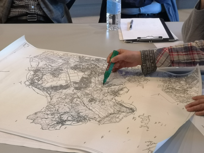a hand drawing on a map